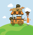 food cart vendor vector image