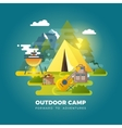 camping background with tourist tent vector image