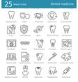 dental medicine thin line icons set vector image