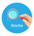 fingerprint under compact magnifying glass in vector image