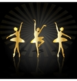 Gold ballerinas dancing on the stage vector image