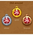 gold silver and bronze old amulet with jewel vector image