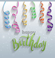happy birthday gift card confetti vector image