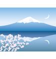 Mount Fuji moon and sakura vector image