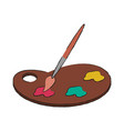 paint brush and palette vector image