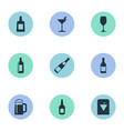 set of simple drinks icons vector image