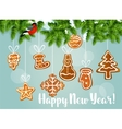 Pine tree with gingerbread cookies vector image
