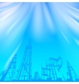Oil rig and pump over blue luminous ray vector image vector image