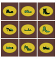 assembly flat icons shoes vector image