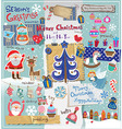Christmas scrapbook set vector image