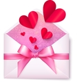 Pink paper envelope with red hearts and bow vector image vector image