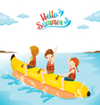 Children Having Fun On Banana Boat vector image