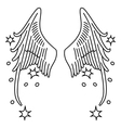 Starred angel wings set linear silhouette vector image