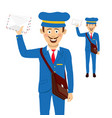 cheerful postman with bag and letters vector image