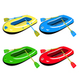 Four colour inflatable boats vector image