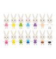 Set of cute bunnies vector image