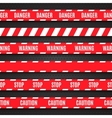 Set of red warning tapes on dark background vector image