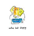 sketch watercolor icon of online book shopping vector image vector image