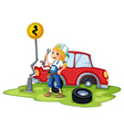 A female mechanic fixing the red broken car vector image