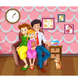 Girl and her family in the living room vector image vector image