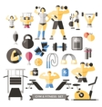 Bodybuilding Knolling Icon Set vector image