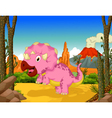 funny dinosaur cartoon in the jungle vector image vector image