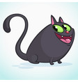 a cute smiling black cat cartoon vector image