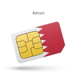 Bahrain mobile phone sim card with flag vector image