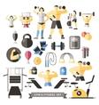 Bodybuilding Knolling Icon Set vector image