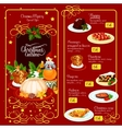 Christmas menu template for restaurant design vector image