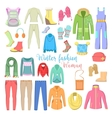 Woman Winter Clothes and Accessories Collection vector image vector image