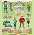 family father mother grandmother grandfather son vector image vector image