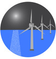 modern windmills in the sea vector image