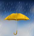 Yellow umbrella in rain vector image