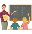 Teacher at blackboard explains children vector image vector image