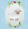 Sheep in decorative frame vector image