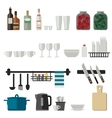 Kitchenware flat icons vector image