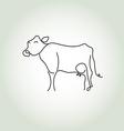 cow simple icon in black lines vector image vector image