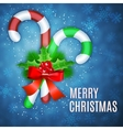 Christmas candy cane with holly and red bow vector image