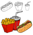 french fries soda hot dog isolated vector image