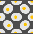fried eggs seamless pattern on grey background vector image