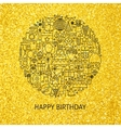 Line Happy Birthday Gold Concept vector image