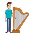man playing harp character vector image