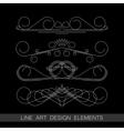 set of line art border elements for design vector image