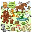 Wild animals hand drawn collection part 1 vector image