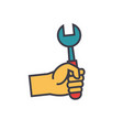 hand with screwdriver flat line vector image