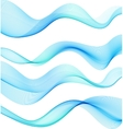 Set of blue transparent smoke wave vector image