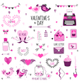 Cute Valentines Day and Love Set vector image