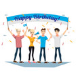birthday party with happy young people vector image