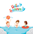 Children Swimming Playing Water In The Sea vector image